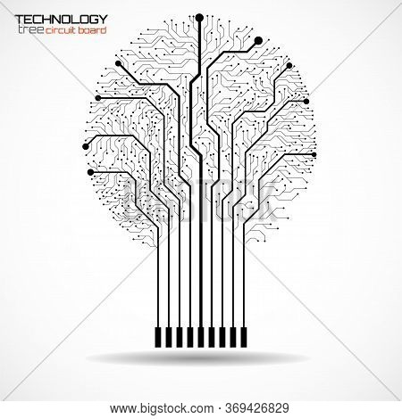 Abstract Tree Of Circuit Board On White Background, Technology Illustration, Vector