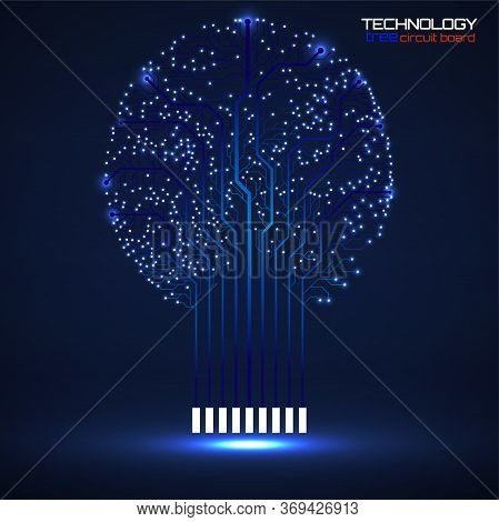 Abstract Tree Of Circuit Board, Technology Illustration, Vector