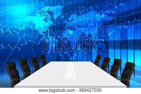 White Table And Chairs With Lcd Background In The Meeting Room