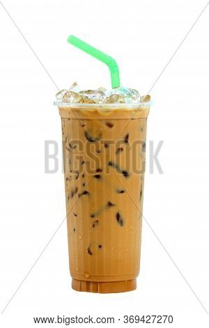 Iced Coffee With Straw In Plastic Cup Isolated On White Background , Coffee Sweet
