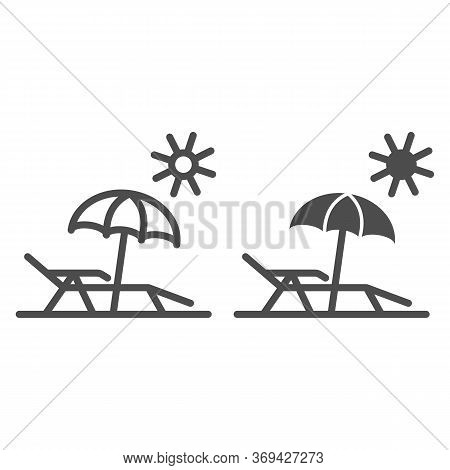 Chaise Lounge On Beach Line And Solid Icon, Summer Concept, Deck Chair With Umbrella Sign On White B