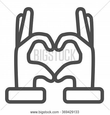 Hands In Heart Form Line Icon, Gestures Concept, Heart Shape Hand Gesture Sign On White Background,
