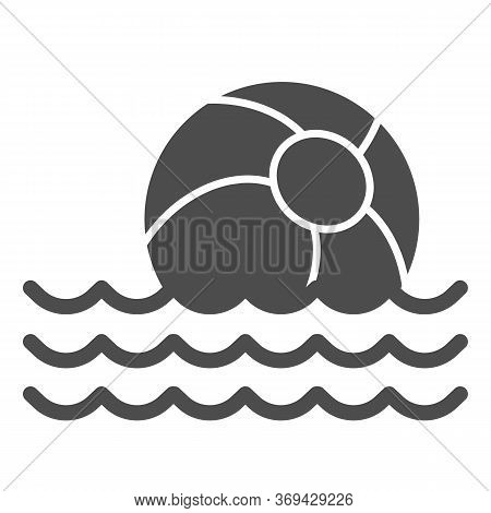 Beach Ball On Waves Solid Icon, Summer Concept, Toy Ball Floating On Water Sign On White Background,