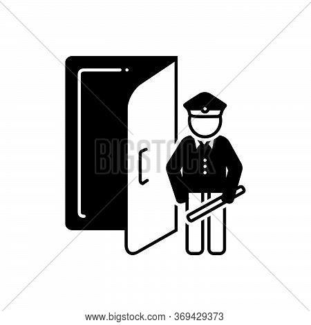 Black Solid Icon For Doorman Doorkeeper Servant Service