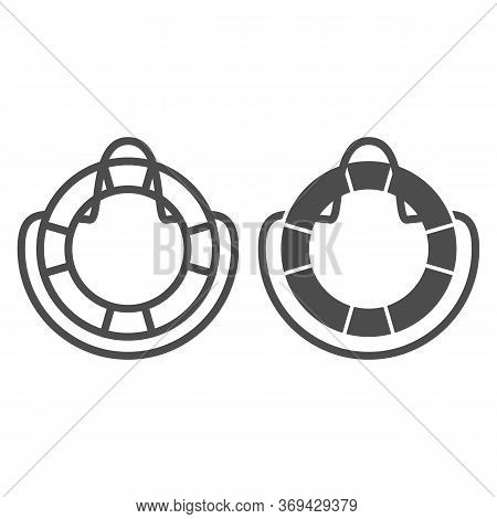 Lifebuoy Line And Solid Icon, Summer Concept, Life Preserver Sign On White Background, Life Saving R