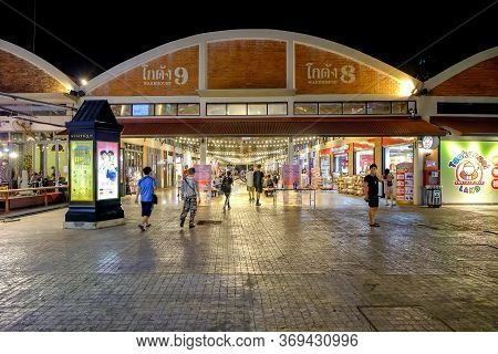 Bangkok, Thailand - February 10, 2020: The Night View To Warehouse 8 & 9, The Market Asiatique The R