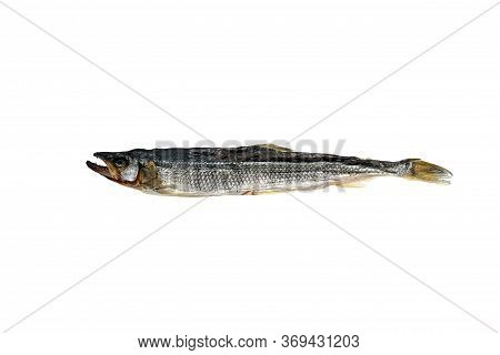 Salted And Dried Fish. Far Eastern Catfish Is Isolated On A White Background. Salted And Dried Fish.
