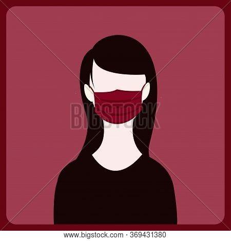 A Girl Wearing Face Mask ,healtcare Vector Concept Illustration