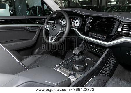 Novosibirsk/ Russia - March 15, 2020: Volkswagen Touareg,dark Car Interior - Steering Wheel, Shift L
