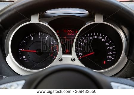 Novosibirsk/ Russia - May 15, 2020: Nissan Juke,round Speedometer, Odometer With A Range Of 70 Thous