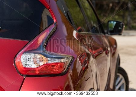 Novosibirsk/ Russia - May 15, 2020: Nissan Juke, Red Car Taillight. Exterior Detail. Close Up Detail