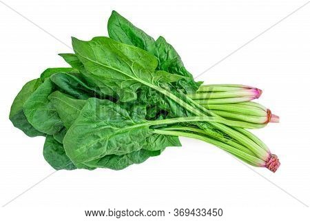 Spinach Leaves Isolated On White Background. Fresh Green  Spinach Heap Top View. Flat Lay.