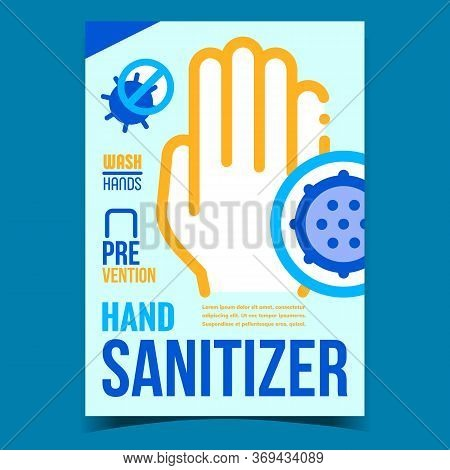 Hand Sanitizer Creative Promotional Banner Vector. Hygienic Disinfectant Antibacterial Lotion Gel Sa