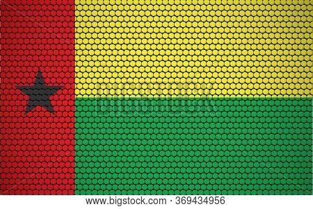 Abstract Flag Of Guinea Bissau Made Of Circles. Guinean Flag Designed With Colored Dots Giving It A