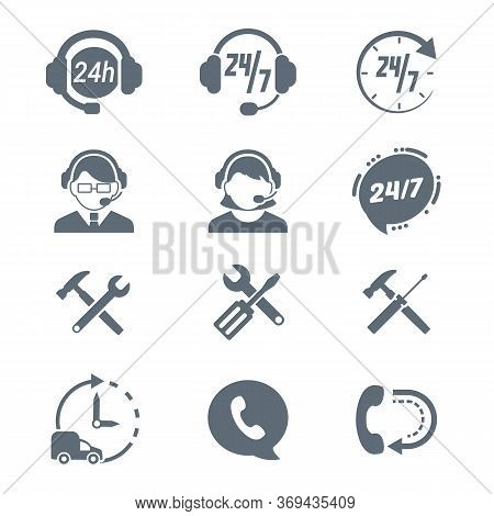 Set Of Support Assistance Icons . High Quality Outline Assist Headphones, Call Center, Phone, 24 Hou