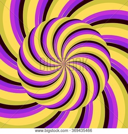 Colored Optic Vortex Spiral Abstract Illusion. Round Over Endless Pattern Texture. Visual Distortion