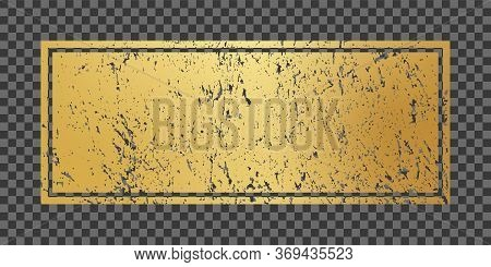 Vector Illustration Golden Frame In Grunge Texture Style. Design Templates Of Abstract Brush Painted