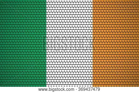 Abstract Flag Of Ireland Made Of Circles. Irish Flag Designed With Colored Dots Giving It A Modern A