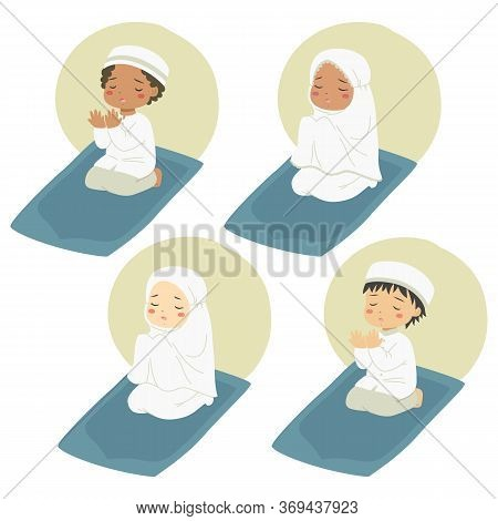 Muslim Kids Sitting On A Prayer Mat And Praying. Muslim Children Characters Vector Set