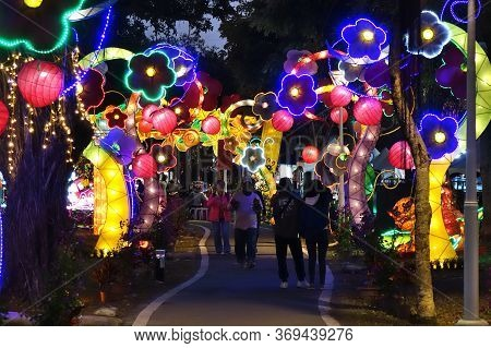 Kaohsiung, Taiwan -- February 6, 2020: Colorful Lanterns Are On Display During The Lantern Festival