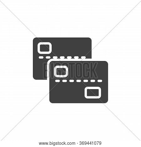 Two Bank Cards Vector Icon. Filled Flat Sign For Mobile Concept And Web Design. 2 Credit Cards Glyph