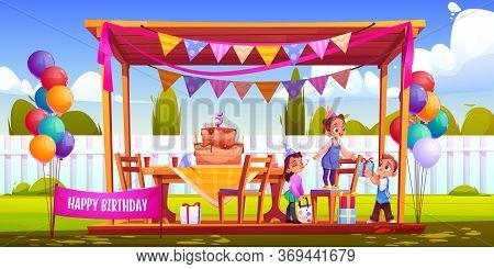 Birthday Outside Party On Backyard. Kids Celebrate Anniversary, Give Gifts. Vector Cartoon Illustrat