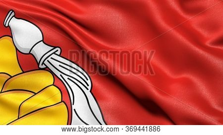 Flag of Voronezh Oblast waving in the wind. 3D illustration.