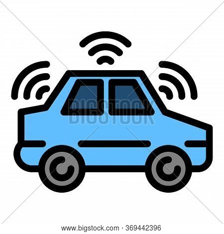 Electric Driverless Car Icon. Outline Electric Driverless Car Vector Icon For Web Design Isolated On