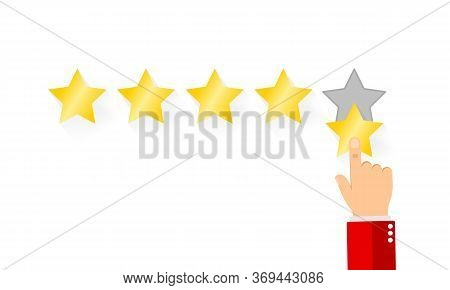 Pointing Hand And Five Stars. Businessman Hand Giving Five Star Rating. Customer Reviews, User Feedb