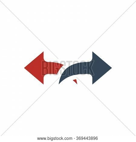 Two Horizontal Parallel Arrows Separating Ways, Opposite Direction Arrows. Stock Vector Illustration