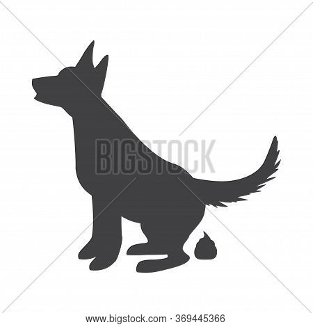 Poop Dog Silhouette. Dog Pooping Vector Sign For Warning Symbol, Black Dogs Poo Illustration Isolate