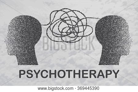 Psychotherapy Practice, Psychological Help, Psychiatrist Consulting Patient. Two Human Heads Shaped