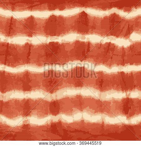Orange Tie Dye Stripes Seamless Vector Pattern. Shibori Print. Textured Japanese Background. Modern