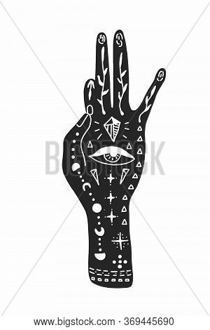 Vector Illustration Of A Hand With Tattoos, An Alchemy Symbol With An Eye And A Moon. Abstract Graph