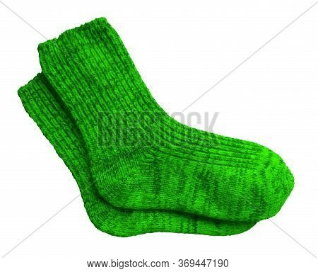 Green Pair Of Woolen Socks Isolated On White Background. Clipping Path Included.