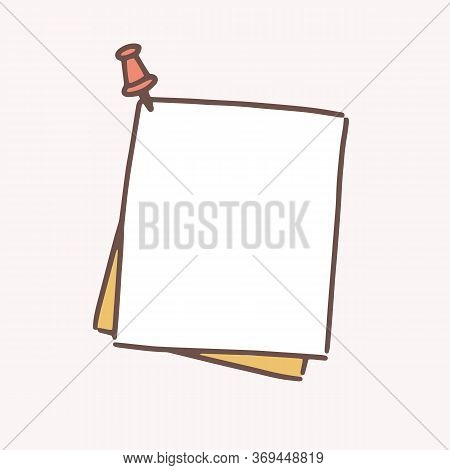 Clean Hand Drawn Paper Sheet Attached With Drawing Pin Vector Flat Illustration. Reminder Blank Pinn