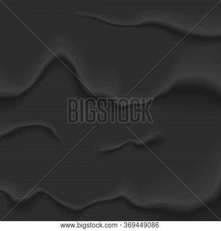 Black Bad Glued Paper. Wet Wrinkled And Creased Paper Sheet With Crumpled Texture. Perfect For Desig