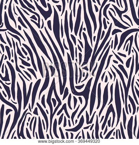 Black And White Zebra Or Tiger Print For Wrapping Paper. Exotic Monochrome Fashion Decor Vector Flat