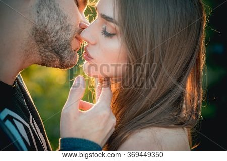 Kiss. Young Couple Kissing Each Other. Sensual Couple Kiss. Romantic And Love. Intimate Relationship