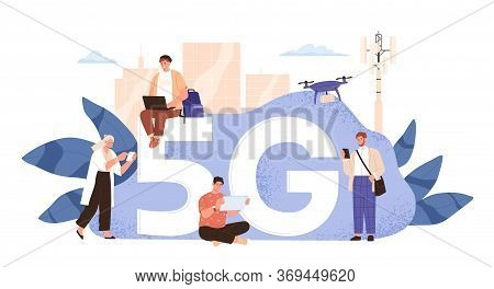Modern People Use Wireless High Speed Internet Vector Flat Illustration. Man And Woman With Smartpho