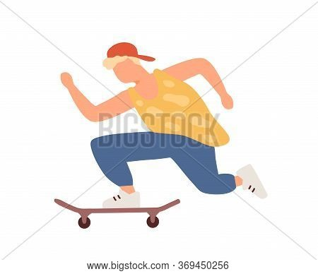 Active Teenager Boy Riding On Skateboard Vector Flat Illustration. Hipster Teen Guy In Cap Enjoying