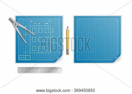 Engineering Blueprint Pencil Ruler Compass Divider Planning Icon Design Background Illustration