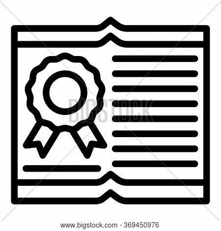 Translator Diploma Icon. Outline Translator Diploma Vector Icon For Web Design Isolated On White Bac