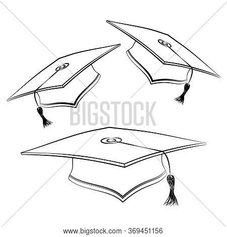 Black Line Student Caps. Sketch Of Graduation Hat. Academic Celebration Ceremony Symbol. Education S
