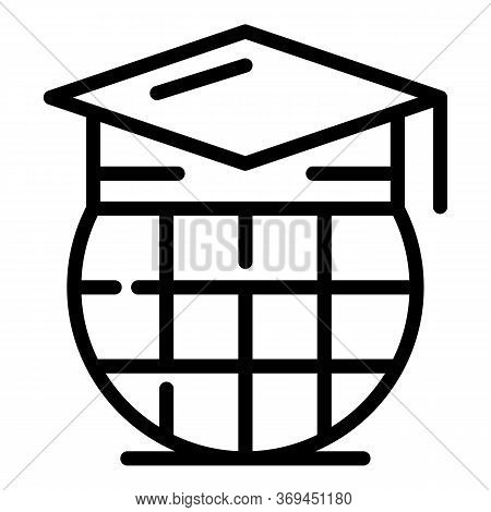 Versionist Graduated Hat Icon. Outline Versionist Graduated Hat Vector Icon For Web Design Isolated
