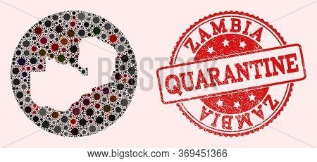 Vector Map Of Zambia Collage Of Covid-2019 Virus And Red Grunge Quarantine Seal. Infection Cells Aro