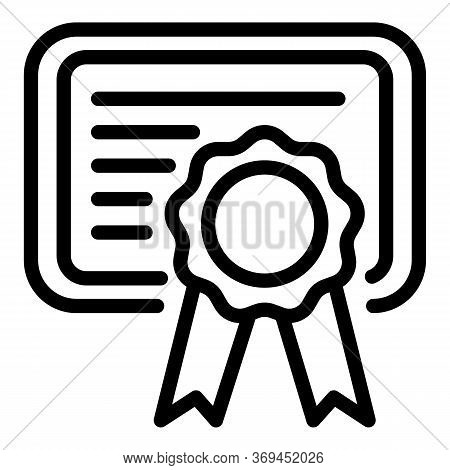 Groomer Diploma Icon. Outline Groomer Diploma Vector Icon For Web Design Isolated On White Backgroun