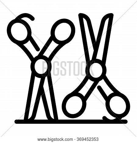 Steel Scissors Groomer Icon. Outline Steel Scissors Groomer Vector Icon For Web Design Isolated On W