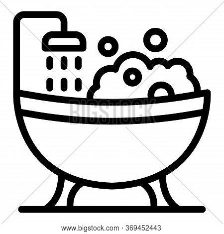 Groomer Bathtub Icon. Outline Groomer Bathtub Vector Icon For Web Design Isolated On White Backgroun