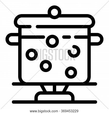 Boiling Pan Icon. Outline Boiling Pan Vector Icon For Web Design Isolated On White Background